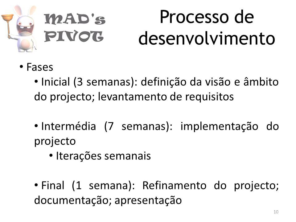 Processo de desenvolvimento Fases Inicial (3 semanas): definição da visão e âmbito do projecto; levantamento de requisitos Intermédia (7 semanas): implementação do projecto Iterações semanais Final (1 semana): Refinamento do projecto; documentação; apresentação 10