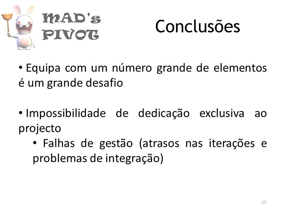 Conclusões Equipa com um número grande de elementos é um grande desafio Impossibilidade de dedicação exclusiva ao projecto Falhas de gestão (atrasos nas iterações e problemas de integração) 13
