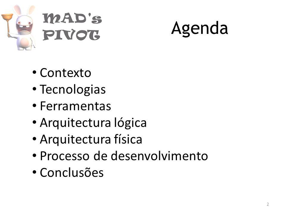 Agenda Contexto Tecnologias Ferramentas Arquitectura lógica Arquitectura física Processo de desenvolvimento Conclusões 2