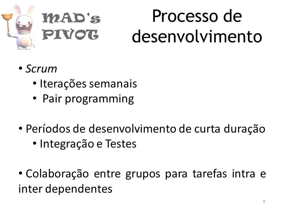 Processo de desenvolvimento Scrum Iterações semanais Pair programming Períodos de desenvolvimento de curta duração Integração e Testes Colaboração entre grupos para tarefas intra e inter dependentes 8