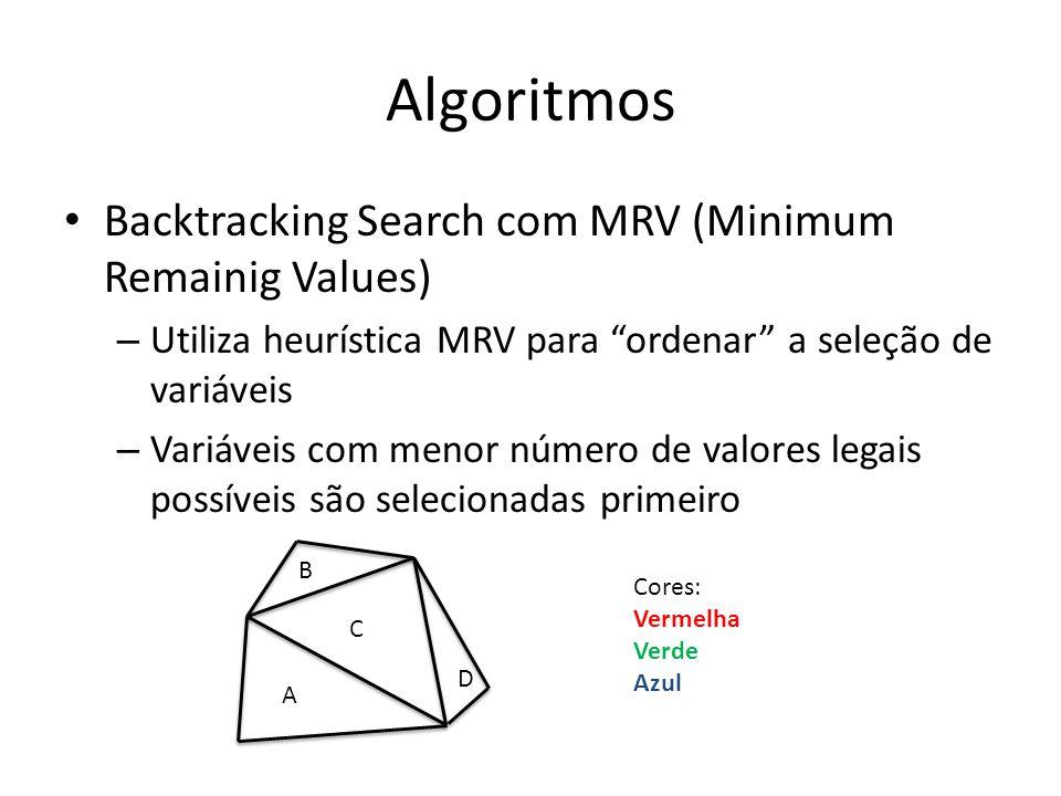 Algoritmos Backtracking Search com MRV (Minimum Remainig Values) – Utiliza heurística MRV para ordenar a seleção de variáveis – Variáveis com menor nú
