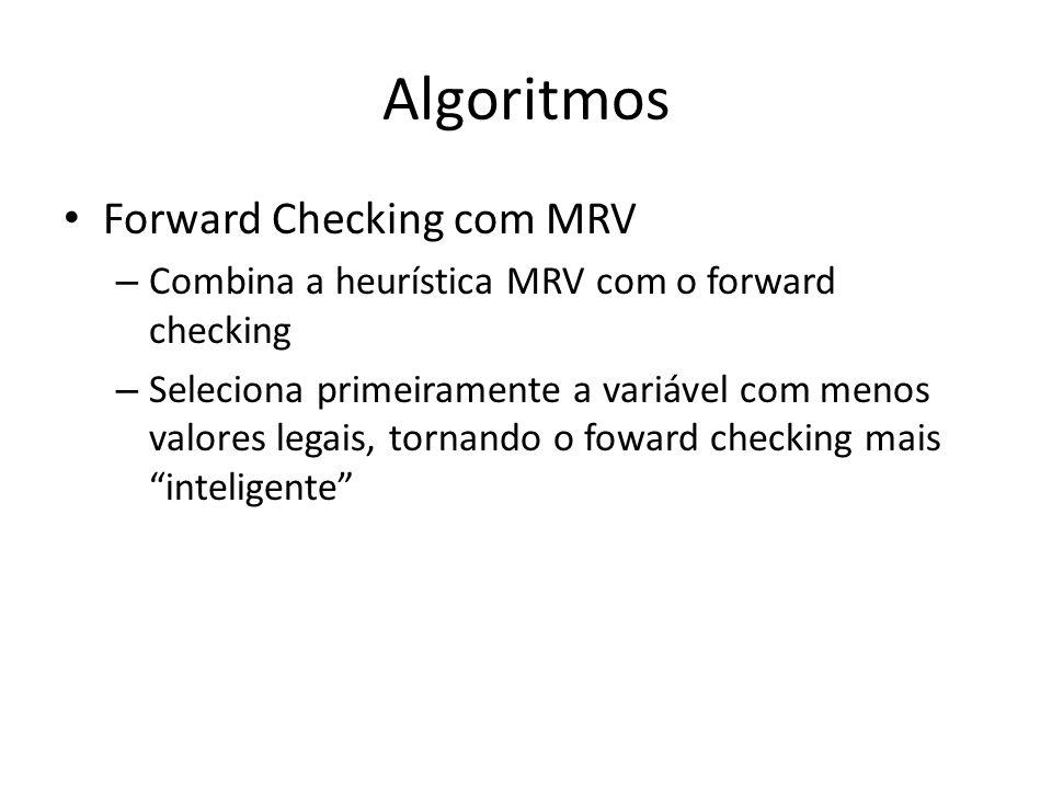 Algoritmos Forward Checking com MRV – Combina a heurística MRV com o forward checking – Seleciona primeiramente a variável com menos valores legais, t