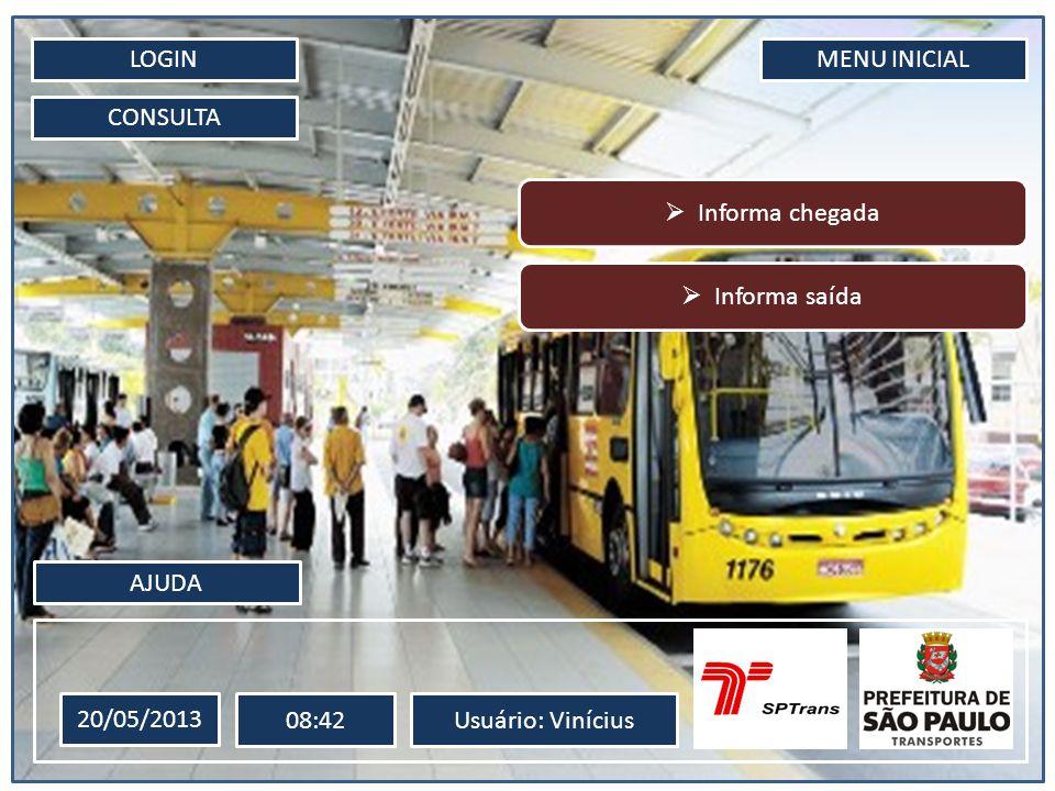 LOGIN CONSULTA MENU INICIAL 20/05/2013 08:42Usuário: Vinícius AJUDA Informa chegada Informa saída