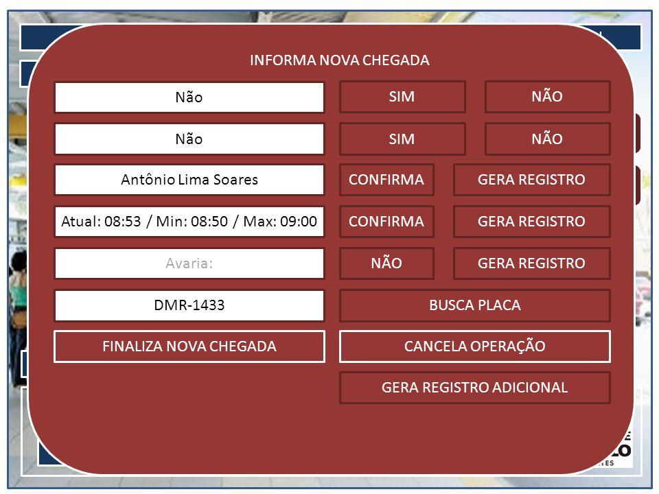 LOGIN CONSULTA MENU INICIAL 20/05/2013 08:41Usuário: Vinícius AJUDA Informa chegada Informa saída INFORMA NOVA CHEGADA Não SIMNÃO SIMNÃONão Antônio Lima SoaresCONFIRMAGERA REGISTRO Atual: 08:53 / Min: 08:50 / Max: 09:00CONFIRMAGERA REGISTRO Avaria:NÃOGERA REGISTRO DMR-1433BUSCA PLACA FINALIZA NOVA CHEGADACANCELA OPERAÇÃO GERA REGISTRO ADICIONAL GERA REGISTRO Digite Clique aqui para digitar o texto...