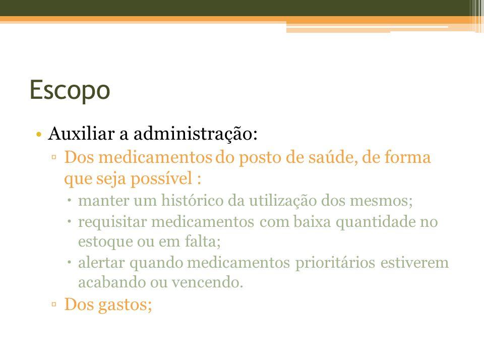Escopo Auxiliar a administração: Dos medicamentos do posto de saúde, de forma que seja possível : manter um histórico da utilização dos mesmos; requis