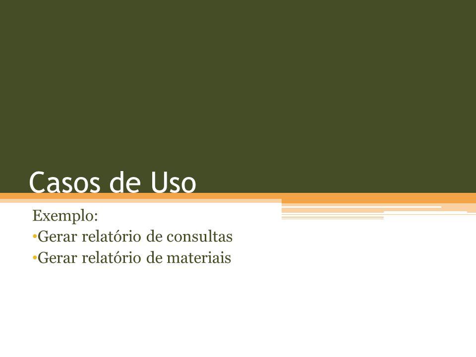Casos de Uso Exemplo: Gerar relatório de consultas Gerar relatório de materiais