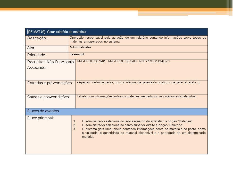 [ RF-MAT-05] Gerar relatório de materiais Descrição: Operação responsável pela geração de um relatório contendo informações sobre todos os materiais a