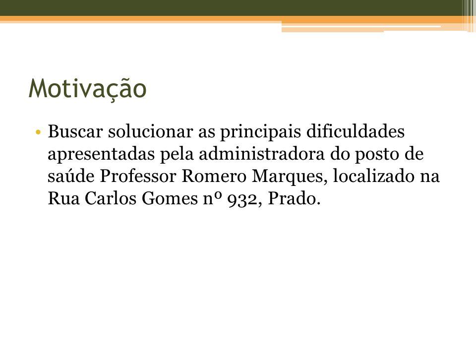 Buscar solucionar as principais dificuldades apresentadas pela administradora do posto de saúde Professor Romero Marques, localizado na Rua Carlos Gomes nº 932, Prado.
