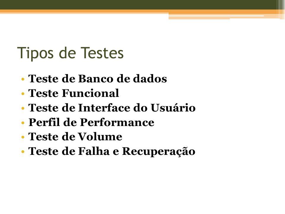 Tipos de Testes Teste de Banco de dados Teste Funcional Teste de Interface do Usuário Perfil de Performance Teste de Volume Teste de Falha e Recuperaç
