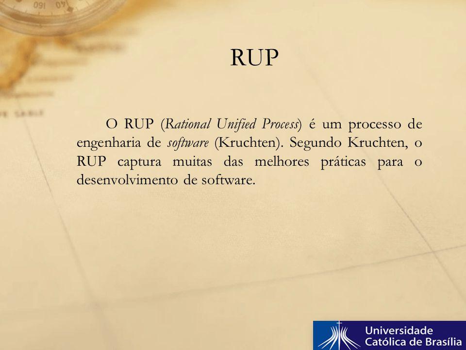O RUP (Rational Unified Process) é um processo de engenharia de software (Kruchten). Segundo Kruchten, o RUP captura muitas das melhores práticas para
