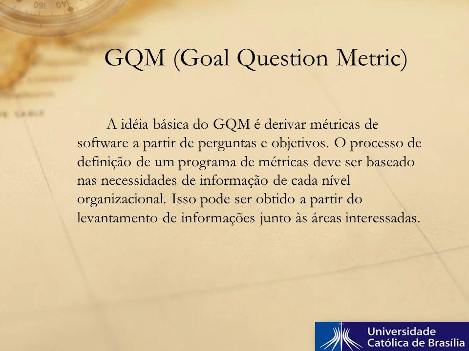 A idéia básica do GQM é derivar métricas de software a partir de perguntas e objetivos. O processo de definição de um programa de métricas deve ser ba