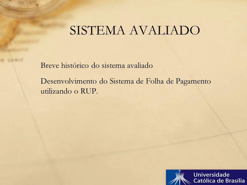 Breve histórico do sistema avaliado Desenvolvimento do Sistema de Folha de Pagamento utilizando o RUP. SISTEMA AVALIADO