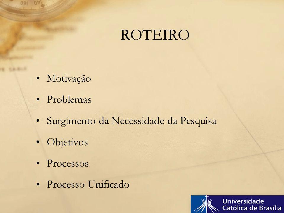 Motivação Problemas Surgimento da Necessidade da Pesquisa Objetivos Processos Processo Unificado ROTEIRO