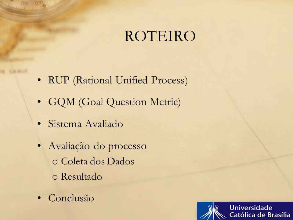 RUP (Rational Unified Process) GQM (Goal Question Metric) Sistema Avaliado Avaliação do processo o Coleta dos Dados o Resultado Conclusão ROTEIRO