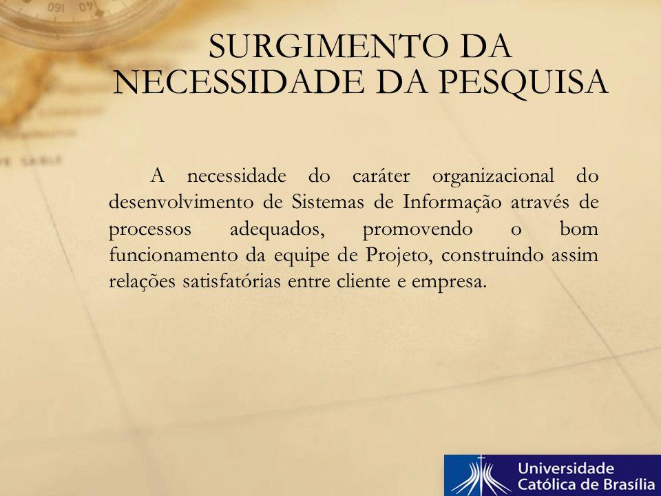 A necessidade do caráter organizacional do desenvolvimento de Sistemas de Informação através de processos adequados, promovendo o bom funcionamento da