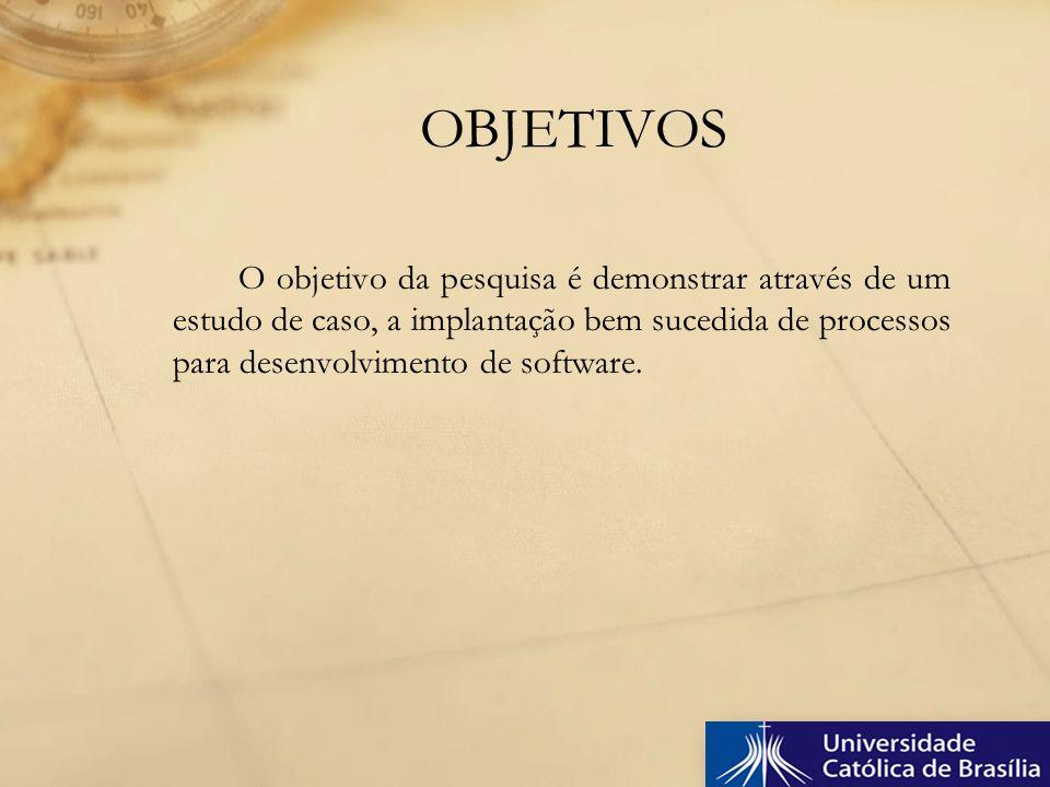 O objetivo da pesquisa é demonstrar através de um estudo de caso, a implantação bem sucedida de processos para desenvolvimento de software. OBJETIVOS