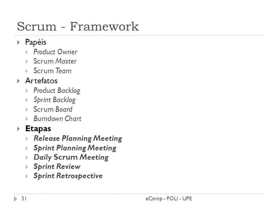 Scrum - Framework eComp - POLI - UPE31 Papéis Product Owner Scrum Master Scrum Team Artefatos Product Backlog Sprint Backlog Scrum Board Burndown Char