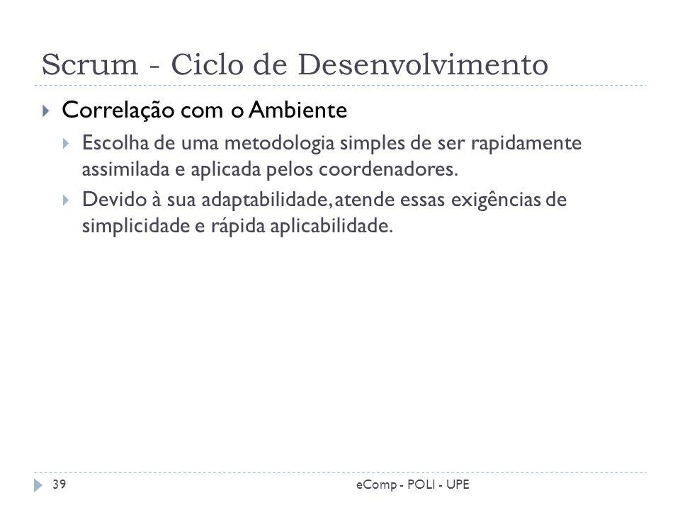 Scrum - Ciclo de Desenvolvimento Correlação com o Ambiente Escolha de uma metodologia simples de ser rapidamente assimilada e aplicada pelos coordenad