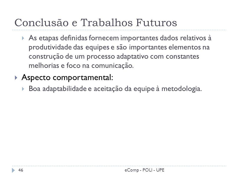 Conclusão e Trabalhos Futuros As etapas definidas fornecem importantes dados relativos à produtividade das equipes e são importantes elementos na cons