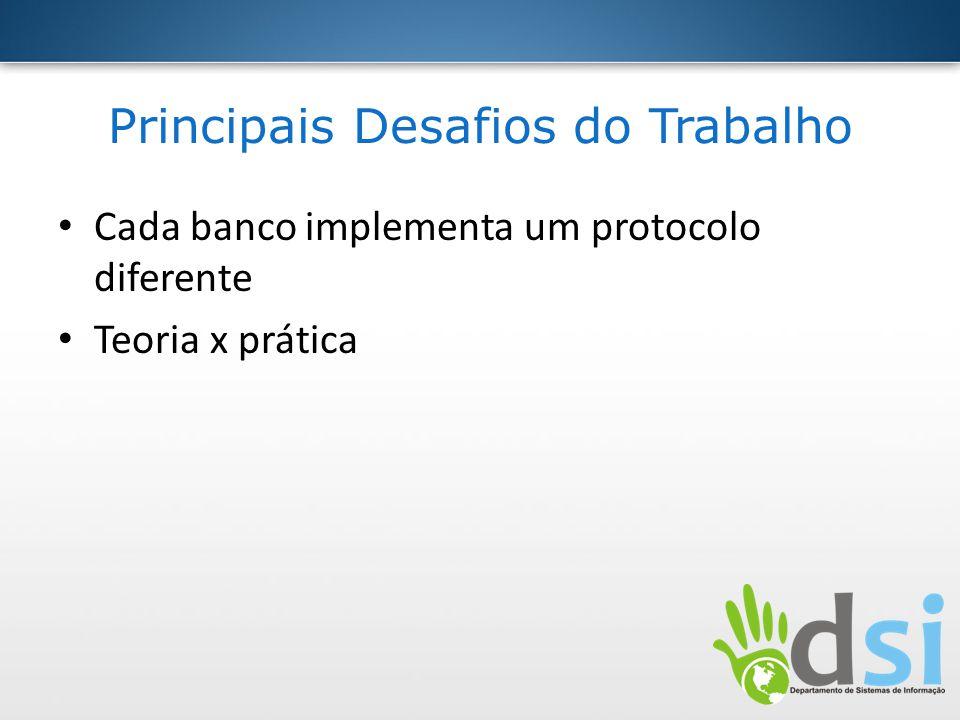 Principais Desafios do Trabalho Cada banco implementa um protocolo diferente Teoria x prática
