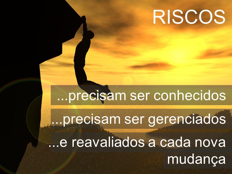 ...precisam ser conhecidos...precisam ser gerenciados...e reavaliados a cada nova mudança RISCOS
