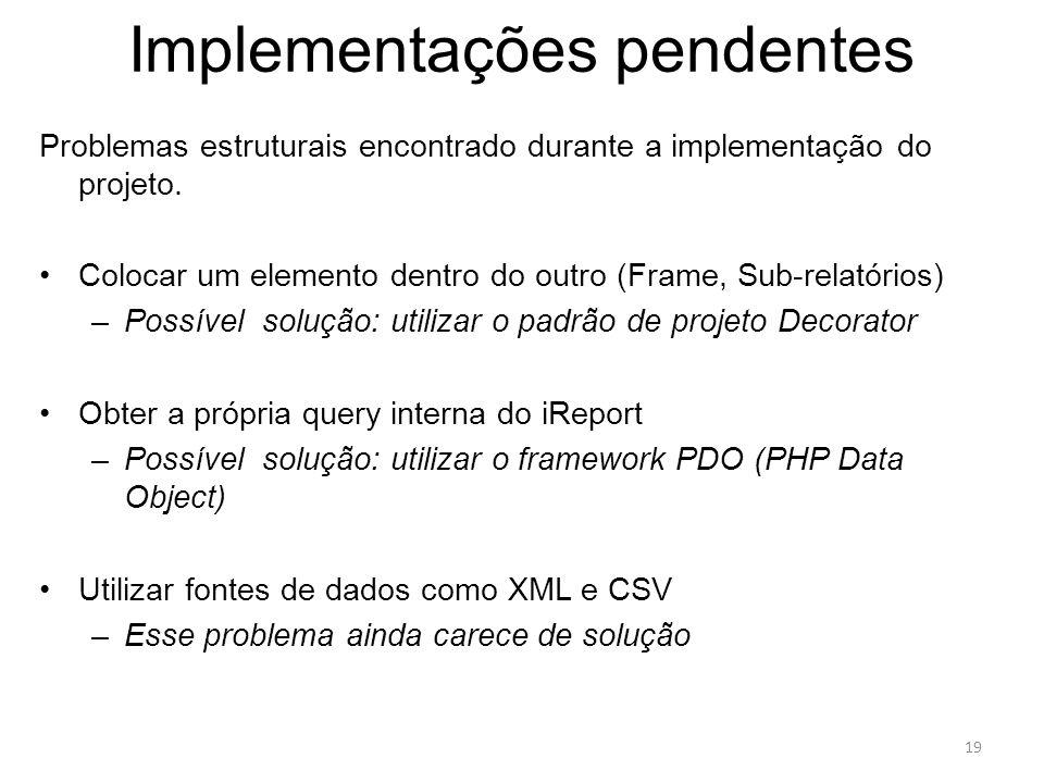 Implementações pendentes Problemas estruturais encontrado durante a implementação do projeto. Colocar um elemento dentro do outro (Frame, Sub-relatóri