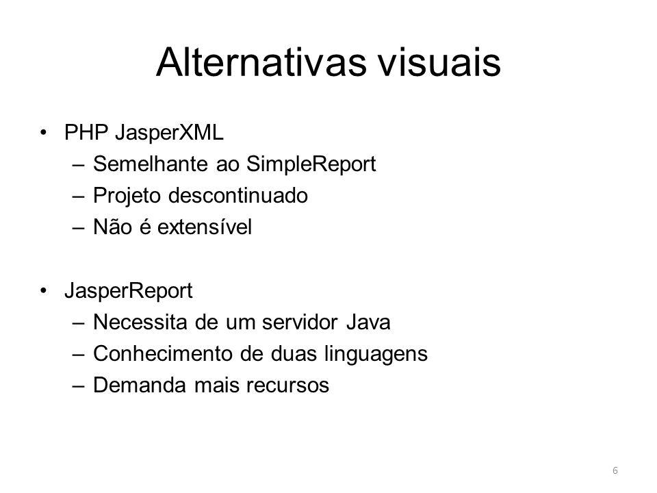Alternativas visuais PHP JasperXML –Semelhante ao SimpleReport –Projeto descontinuado –Não é extensível JasperReport –Necessita de um servidor Java –C