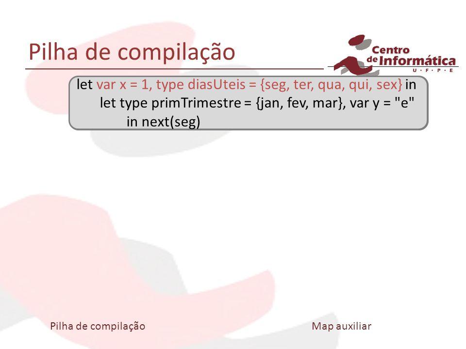 Pilha de compilação let var x = 1, type diasUteis = {seg, ter, qua, qui, sex} in let type primTrimestre = {jan, fev, mar}, var y =