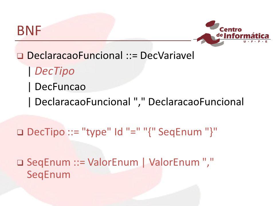 BNF DeclaracaoFuncional ::= DecVariavel | DecTipo | DecFuncao | DeclaracaoFuncional , DeclaracaoFuncional DecTipo ::= type Id = { SeqEnum } SeqEnum ::= ValorEnum | ValorEnum , SeqEnum