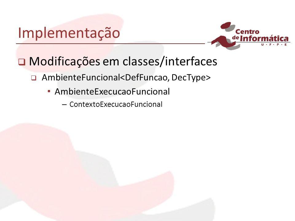 Implementação Modificações em classes/interfaces AmbienteFuncional AmbienteExecucaoFuncional – ContextoExecucaoFuncional