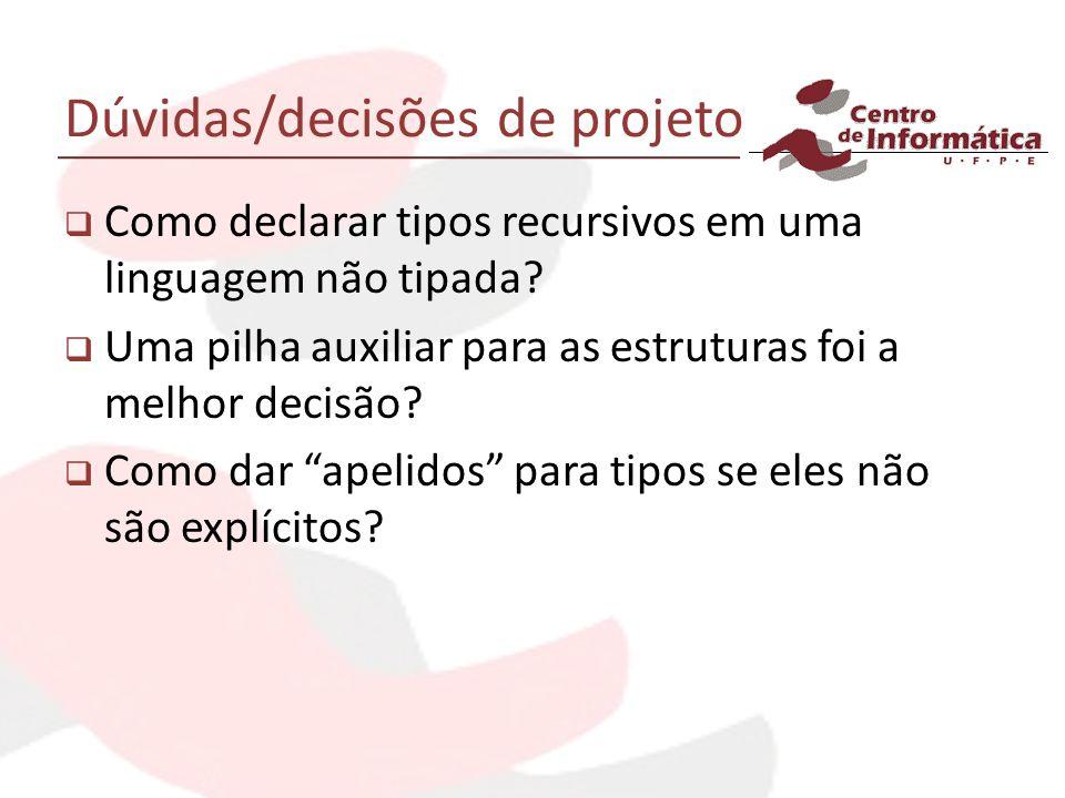 Dúvidas/decisões de projeto Como declarar tipos recursivos em uma linguagem não tipada.