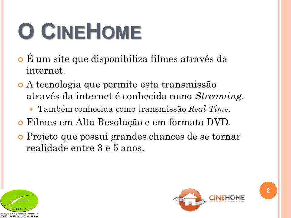 O C INE H OME É um site que disponibiliza filmes através da internet.