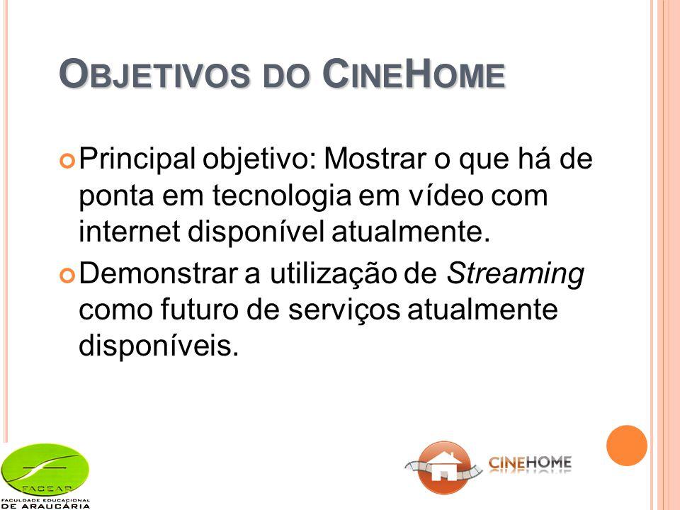 O BJETIVOS DO C INE H OME Principal objetivo: Mostrar o que há de ponta em tecnologia em vídeo com internet disponível atualmente.