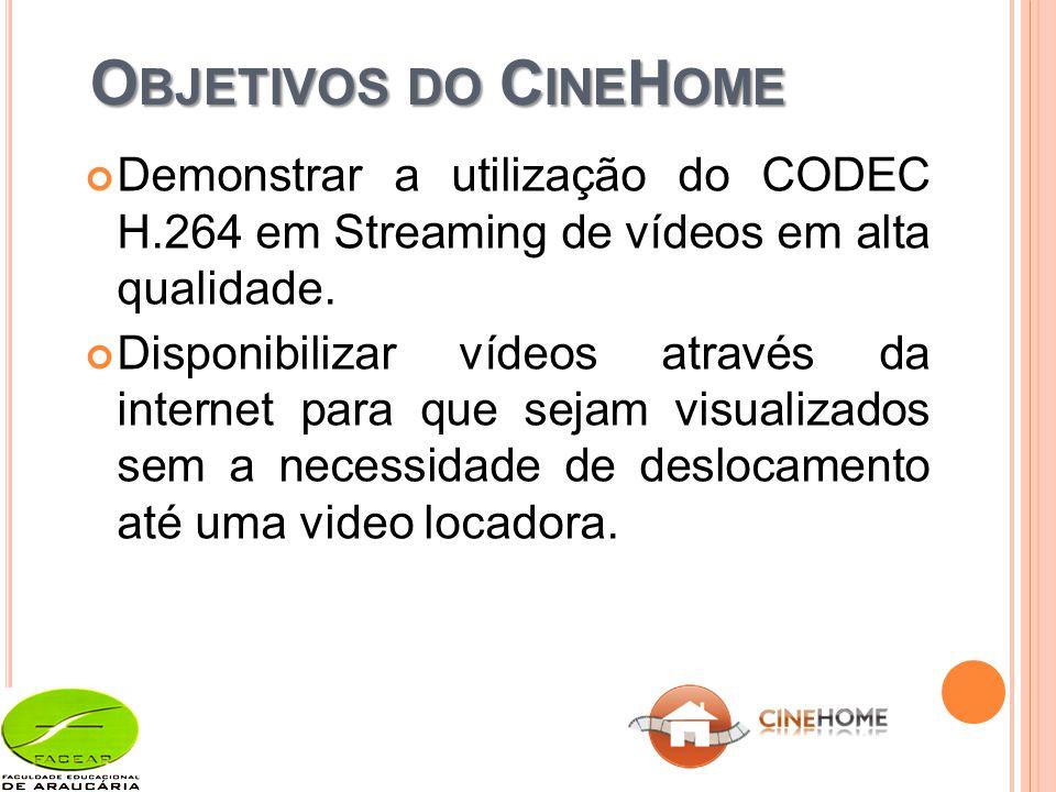 O BJETIVOS DO C INE H OME Demonstrar a utilização do CODEC H.264 em Streaming de vídeos em alta qualidade.