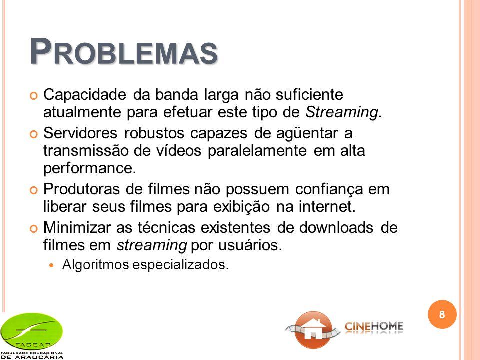 P ROBLEMAS Capacidade da banda larga não suficiente atualmente para efetuar este tipo de Streaming.