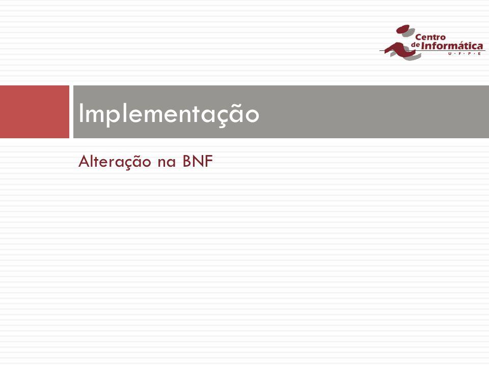 Alteração na BNF Implementação