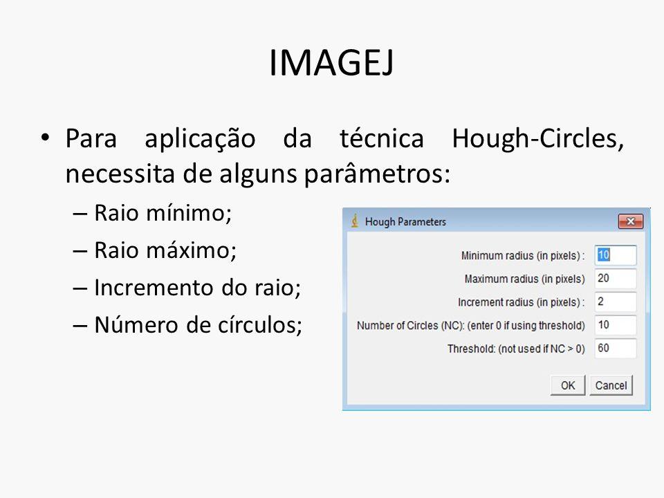 IMAGEJ Para aplicação da técnica Hough-Circles, necessita de alguns parâmetros: – Raio mínimo; – Raio máximo; – Incremento do raio; – Número de círcul