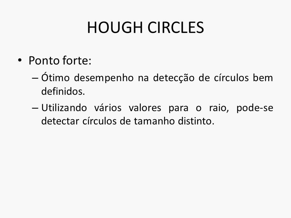HOUGH CIRCLES Ponto forte: – Ótimo desempenho na detecção de círculos bem definidos. – Utilizando vários valores para o raio, pode-se detectar círculo