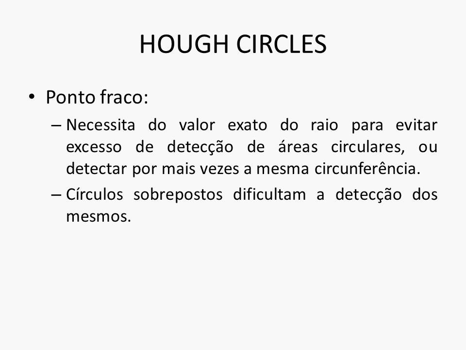 HOUGH CIRCLES Ponto fraco: – Necessita do valor exato do raio para evitar excesso de detecção de áreas circulares, ou detectar por mais vezes a mesma