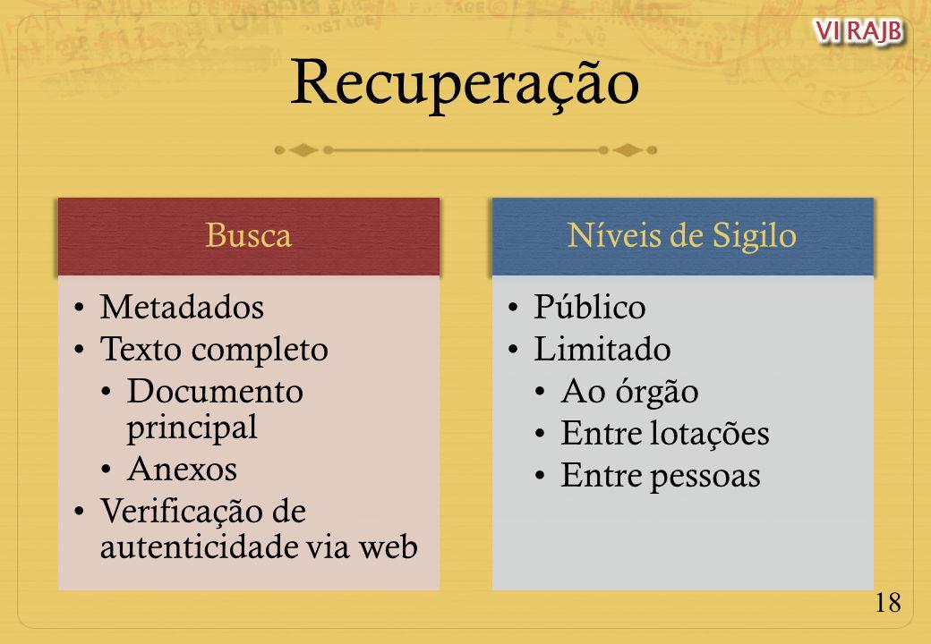 18 Recuperação Busca Metadados Texto completo Documento principal Anexos Verificação de autenticidade via web Níveis de Sigilo Público Limitado Ao órg