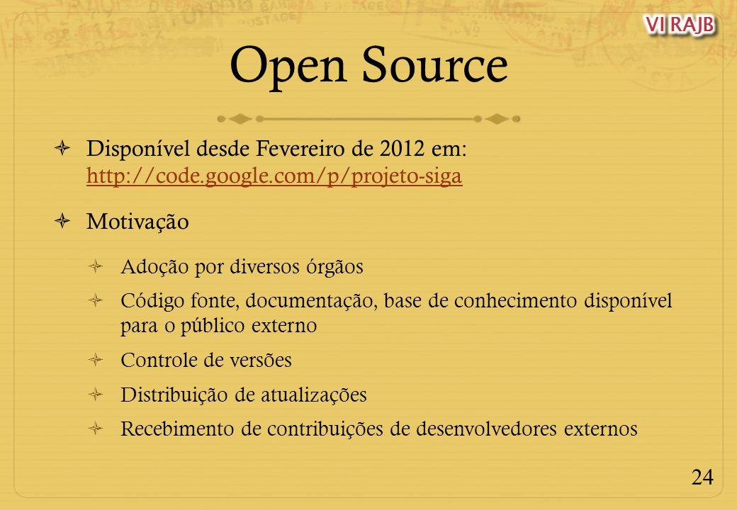 24 Open Source Disponível desde Fevereiro de 2012 em: http://code.google.com/p/projeto-siga http://code.google.com/p/projeto-siga Motivação Adoção por