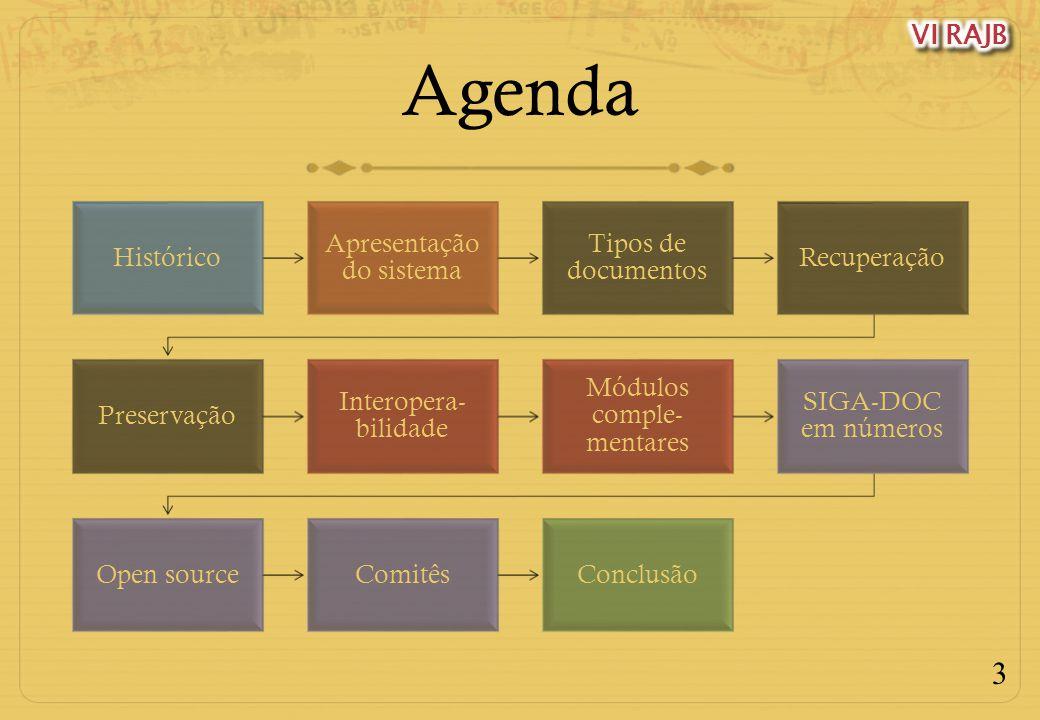 3 Agenda Histórico Apresentação do sistema Tipos de documentos Recuperação Preservação Interopera- bilidade Módulos comple- mentares SIGA-DOC em númer