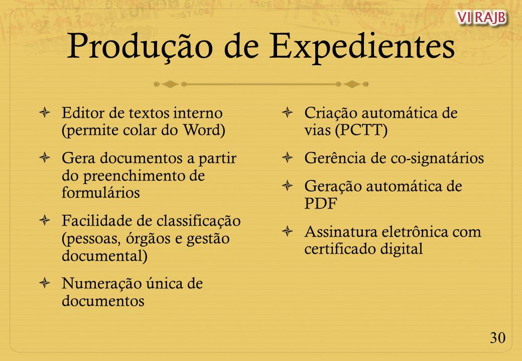 30 Produção de Expedientes Editor de textos interno (permite colar do Word) Gera documentos a partir do preenchimento de formulários Facilidade de cla