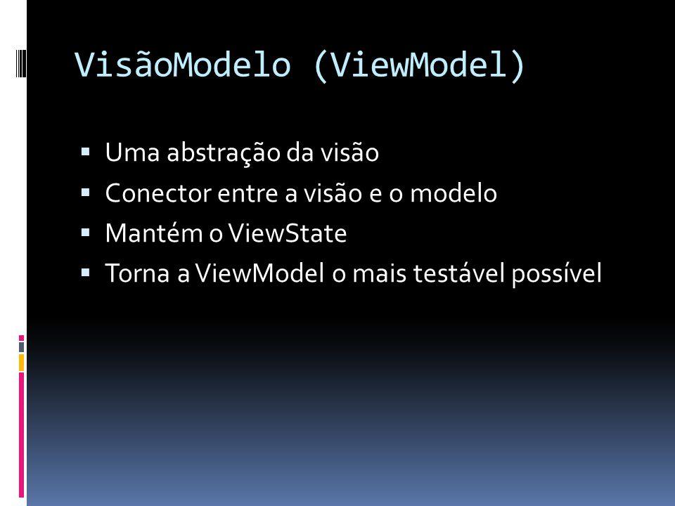 VisãoModelo (ViewModel) Uma abstração da visão Conector entre a visão e o modelo Mantém o ViewState Torna a ViewModel o mais testável possível