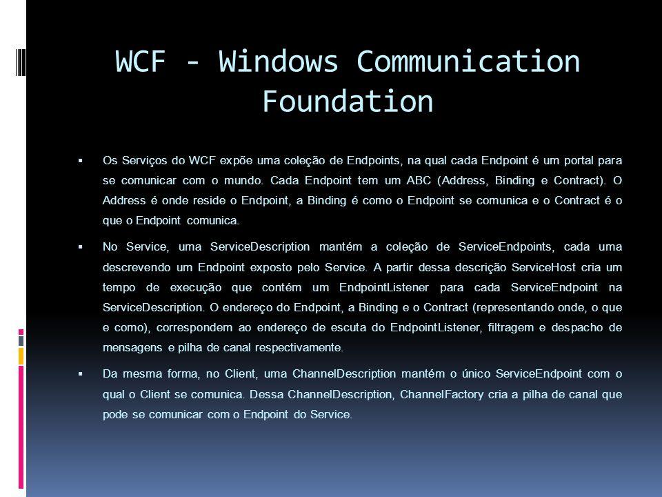 WCF - Windows Communication Foundation Os Serviços do WCF expõe uma coleção de Endpoints, na qual cada Endpoint é um portal para se comunicar com o mundo.