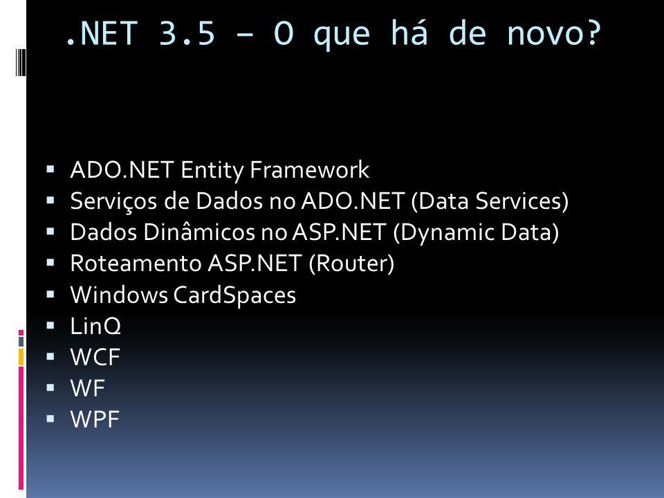 .NET 3.5 – O que há de novo? ADO.NET Entity Framework Serviços de Dados no ADO.NET (Data Services) Dados Dinâmicos no ASP.NET (Dynamic Data) Roteament