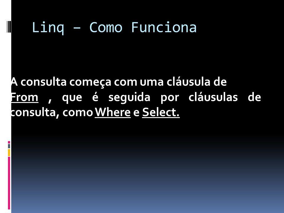 Linq – Como Funciona A consulta começa com uma cláusula de From, que é seguida por cláusulas de consulta, como Where e Select.