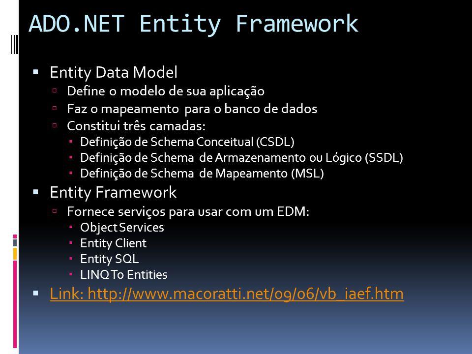 ADO.NET Entity Framework Entity Data Model Define o modelo de sua aplicação Faz o mapeamento para o banco de dados Constitui três camadas: Definição de Schema Conceitual (CSDL) Definição de Schema de Armazenamento ou Lógico (SSDL) Definição de Schema de Mapeamento (MSL) Entity Framework Fornece serviços para usar com um EDM: Object Services Entity Client Entity SQL LINQ To Entities Link: http://www.macoratti.net/09/06/vb_iaef.htm