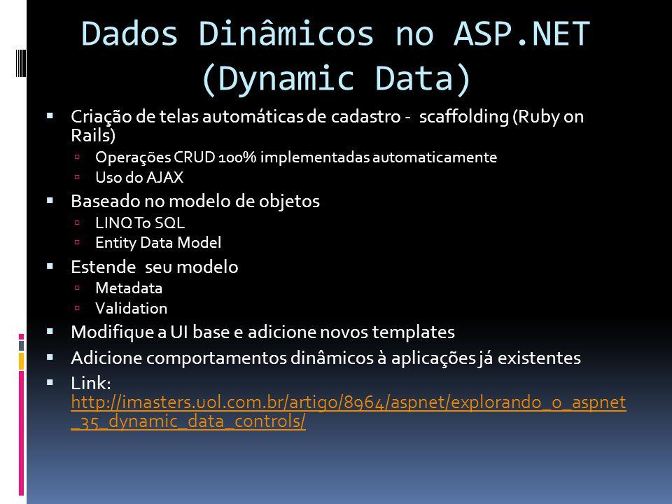 Dados Dinâmicos no ASP.NET (Dynamic Data) Criação de telas automáticas de cadastro - scaffolding (Ruby on Rails) Operações CRUD 100% implementadas aut