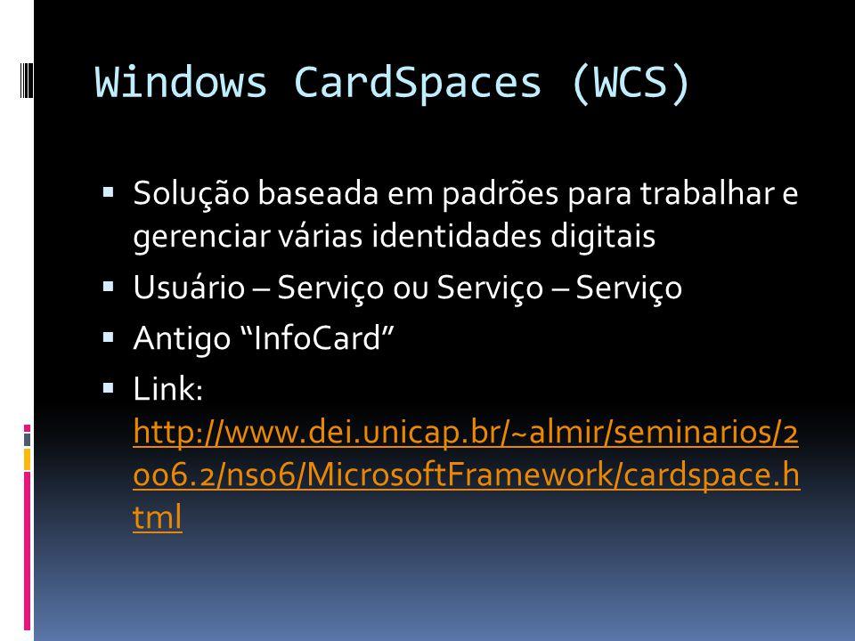 Windows CardSpaces (WCS) Solução baseada em padrões para trabalhar e gerenciar várias identidades digitais Usuário – Serviço ou Serviço – Serviço Anti